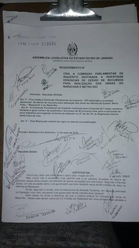 Assinaturas no pedido de abertura da CPI do Maracanã