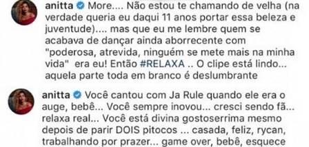 Anitta se manifesta sobre comparações