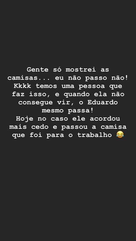 Heloísa Bolsonaro diz que seu marido, Eduardo, passa as próprias camisas