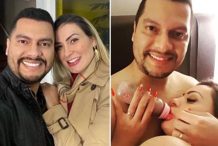 Andressa Urach with her husband, Thiago Lopes