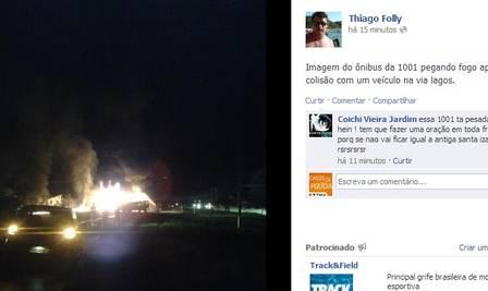 Testemunha fotografou veículos pegando fogo na estrada e postou no perfil do Facebook