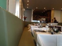 Festive and lovely interior to the bayside restaurant.
