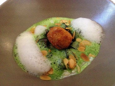 Foam was a theme in the next dish of garlicy escargot.