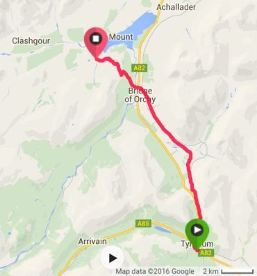 A map of Tyndrum to Inveroran Hotel.