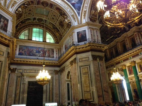 The massive walls inside St. Isaac's Cathedral.