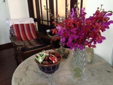 The gorgeous home we stayed in with fresh fruit and flowers.