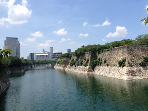 The moat surrounding the castle.