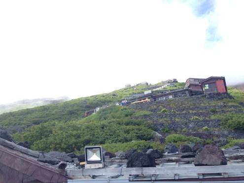 Looking up at the many station huts.