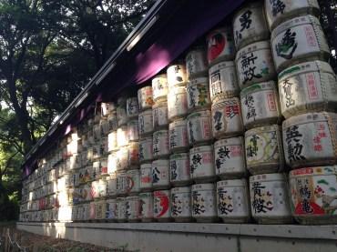Sake barrels on the Meiji Shrine compound.