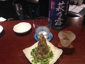 Raw mackerel with another sake.