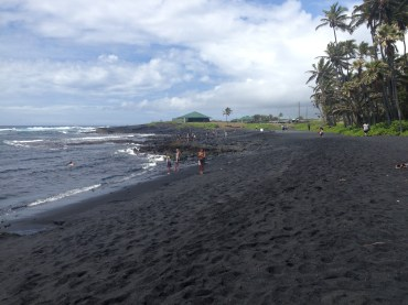 The black sands of Punalu'u Beach.