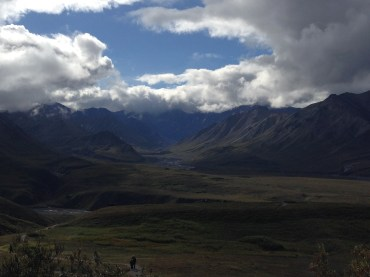 From the Eielson Center, the mountain...completely covered by clouds.