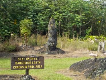 Petrified trees in the Lava Tree Memorial Park.