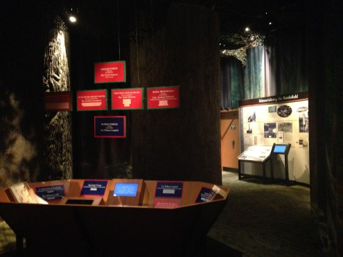 Inside the King's Mountain Visitor's Center, set up like the woods.