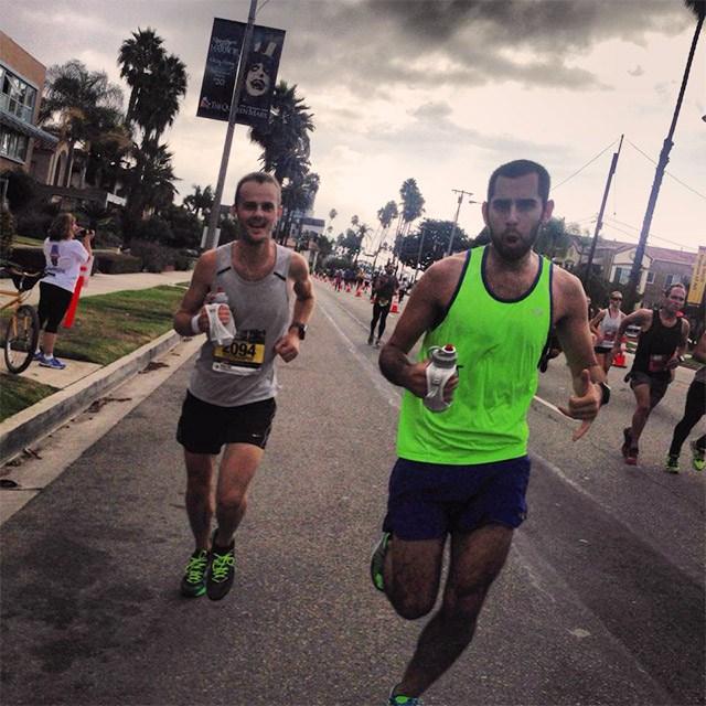 Mile 25 of the Long Beach Marathon, Floris Gierman with Damian Gomez