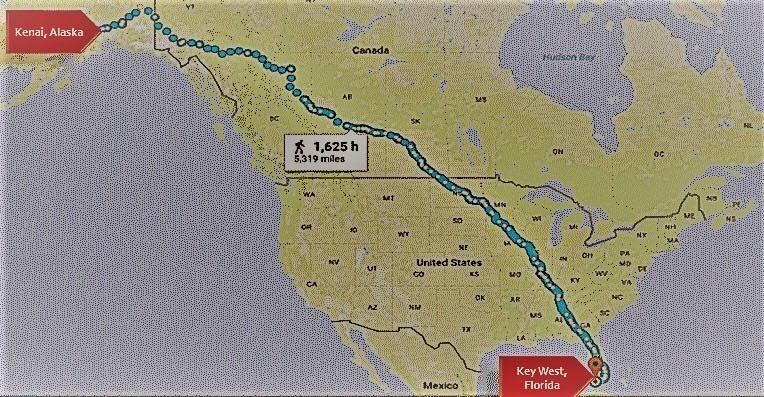 Running from Kenai Alaska to Key West Florida