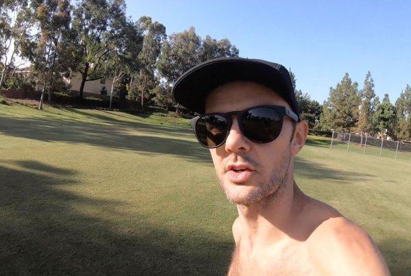 running with sunglasses