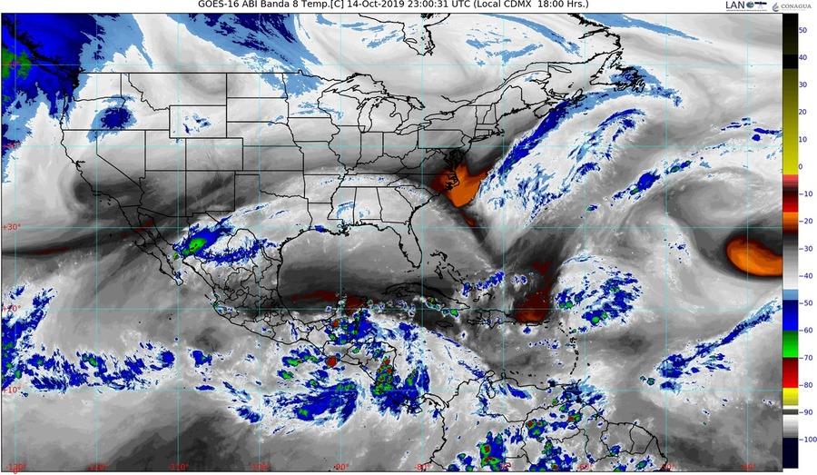 Atención: Para las próximas horas se esperan lluvias puntuales muy fuertes en Sinaloa, Sonora y Baja California Sur