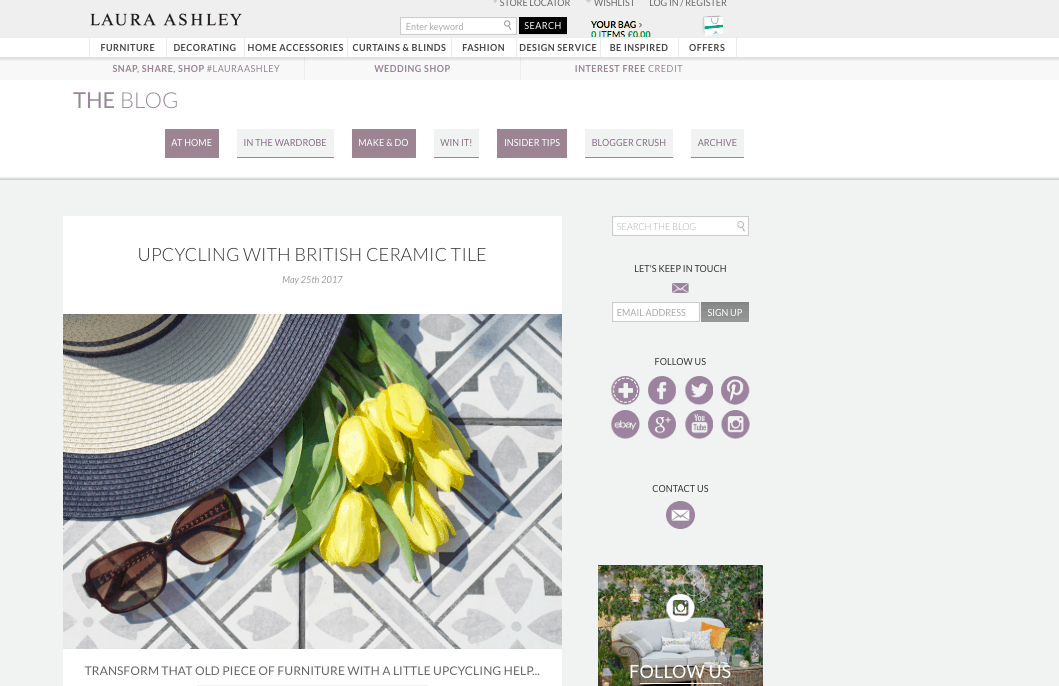 My Weekly Round Up, Exams and Extraordinary Chos being featured on the Laura Ashley Blog