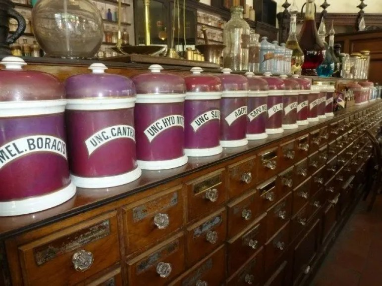 In the Pharmacy in Blists Hill Victorian Town with Kids www.extraordinarychaos.com