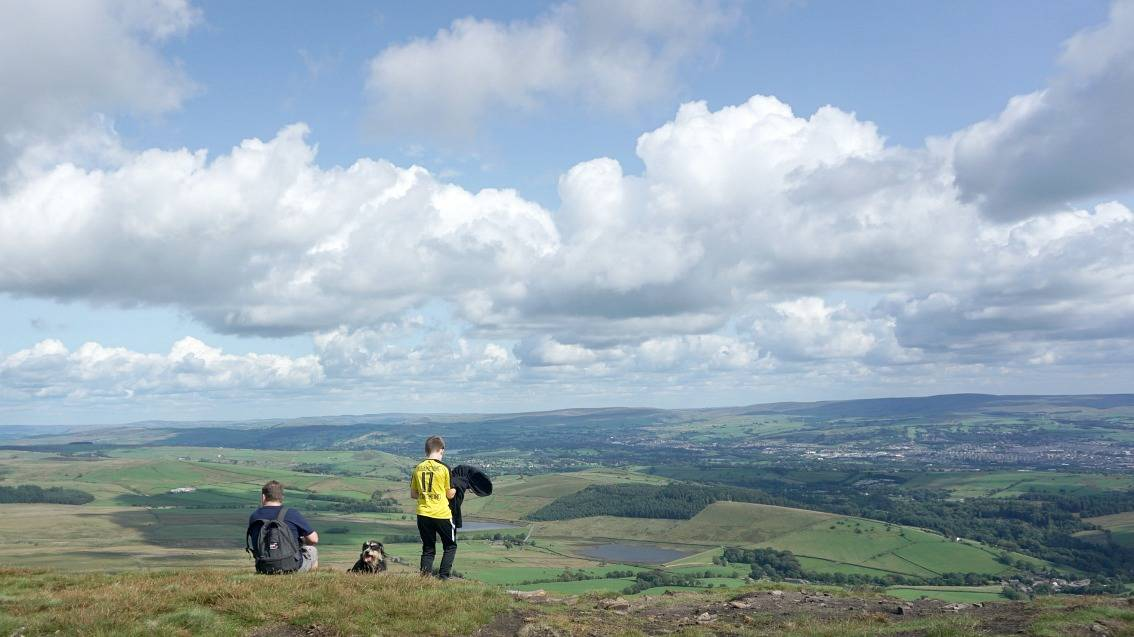 Sat at the top of Pendle Hill