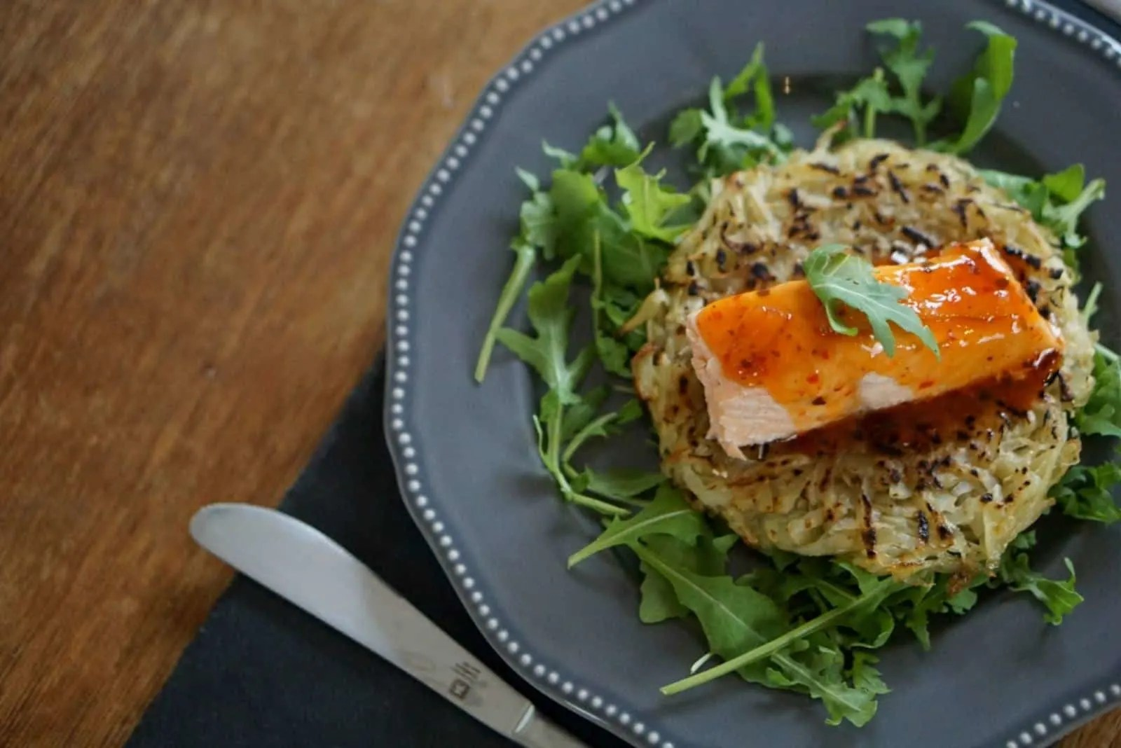 Salmon And Rosti On A Bed Of Rocket