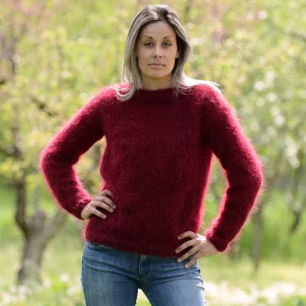 Sexy Woman Dark Red Hand Knitted Mohair Sweater