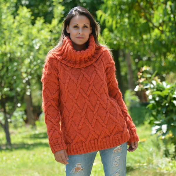 Cable Knit Chunky 100 Wool Turtleneck Sweater Dark