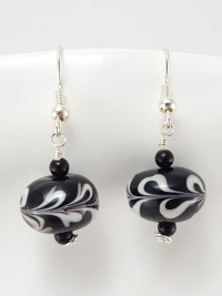 Black and White Lampwork Glass Earrings  Extraversions ...