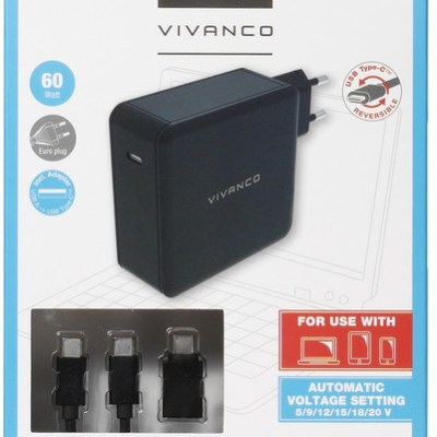 Vivanco USB-C laadija + kaabel 60W (34316)