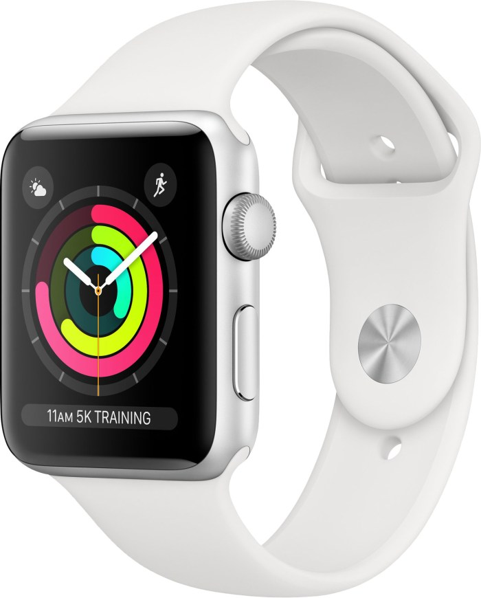 Apple Watch 3 GPS 42mm Sport Band, silver/white