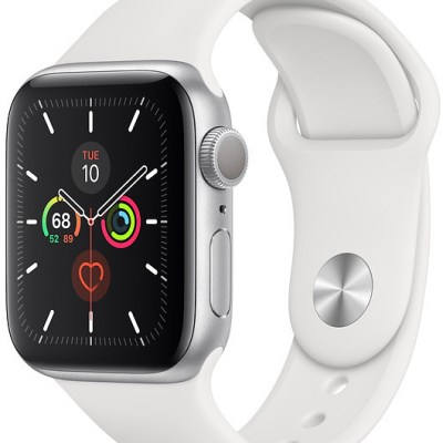 Apple Watch 5 GPS 44mm Sport Band, silver/white