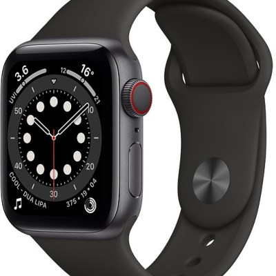 Apple Watch 6 GPS + Cellular 40mm Sport Band, space grey/black (M06P3EL/A)