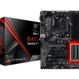 Mainboard ASROCK AMD B450 SAM4 ATX 4xPCI-Express 2.0 1x 6xPCI-Express 3.0 16x 2xM.2 Memory DDR4 Memory slots 4 1x15pin D-sub 1xHDMI 1xDisplayPort 1xAudio-In 1xAudio-Out 1xMicrophone 2xUSB 2.0 5xUSB 3.1 1xUSB type C 1xPS/2 1xRJ45 B450GAMINGK4