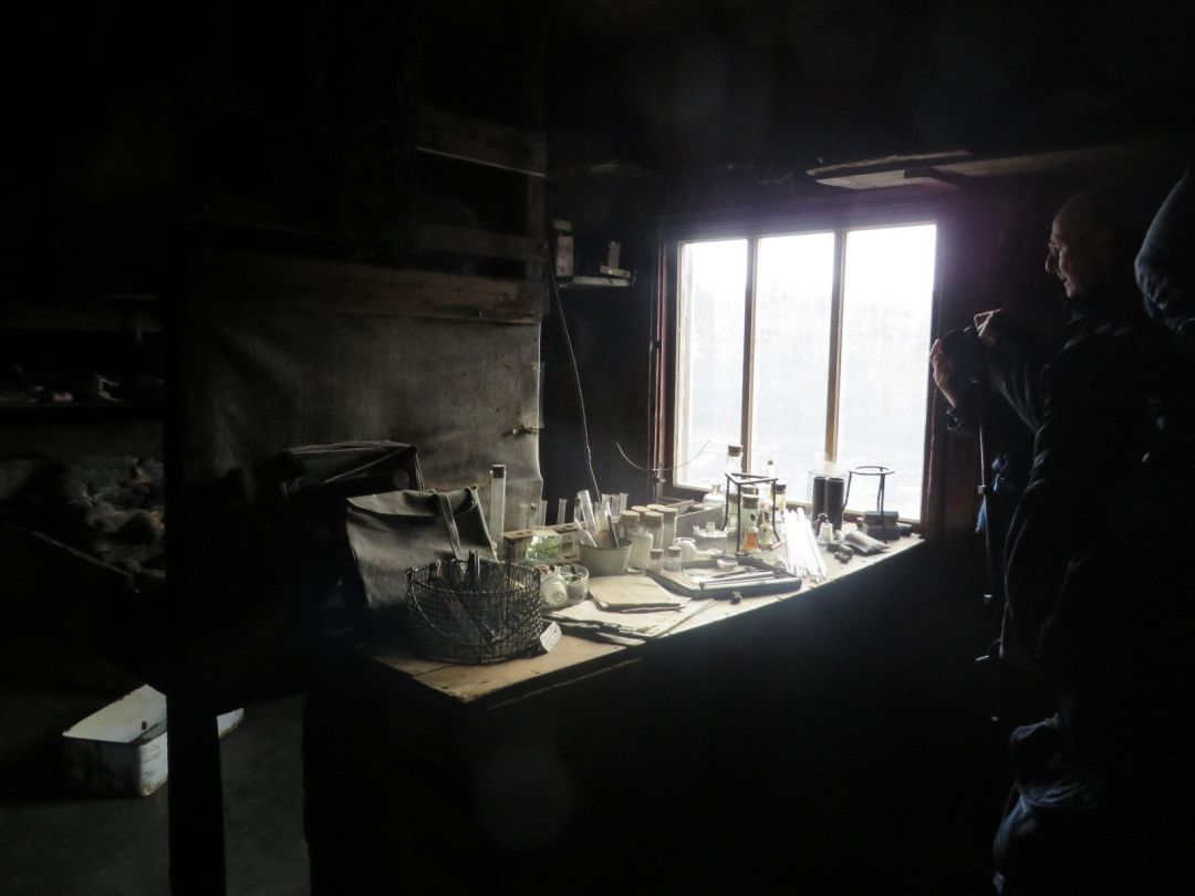 Lab in Scott's hut at Cape Evans