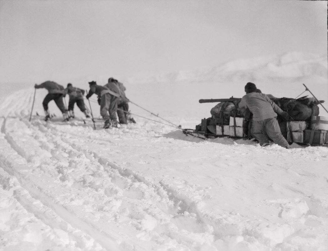 Man-hauling a heavily loaded sledge