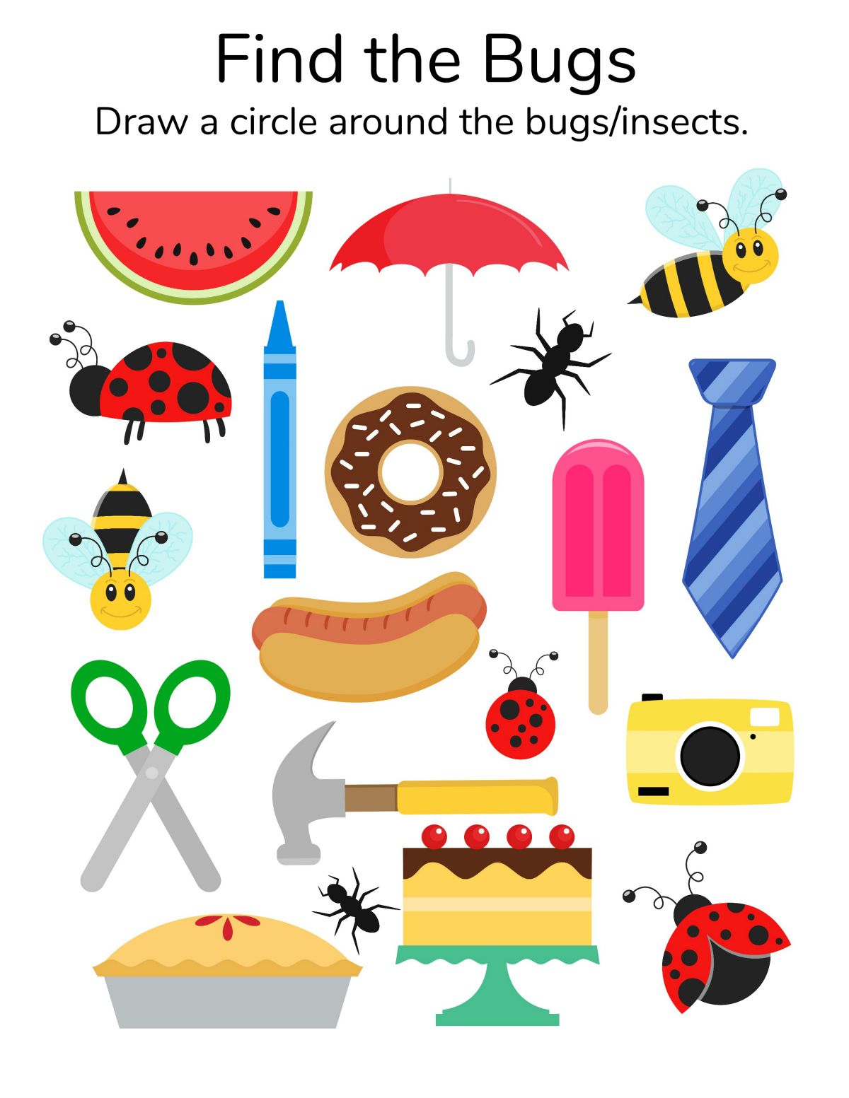 Find The Bugs Printable Worksheet