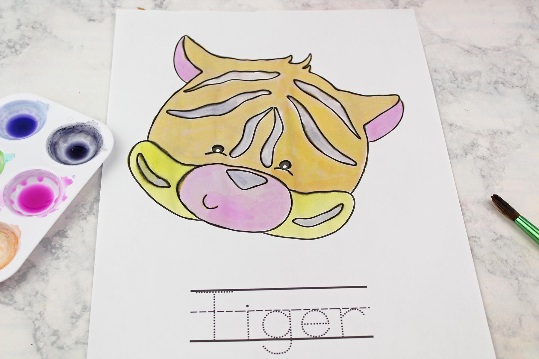 Watercolour Jungle Friends Spelling Worksheets Printable