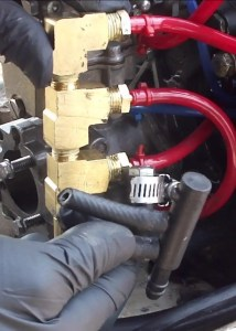 Broken Fuel Manifold and Replacement Brass Fuel Manifold - VRO Oil Pump Removed