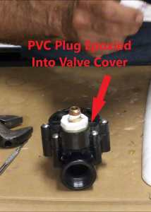 PVC Plug Epoxied Into Sprinkler Valve Cover
