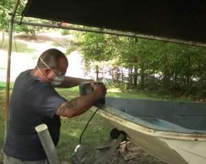 Whaler Bow Sanding Fiberglass
