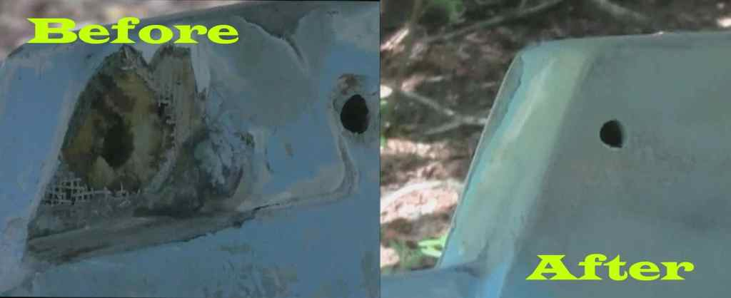 Fiberglass Transom Repair Before and After