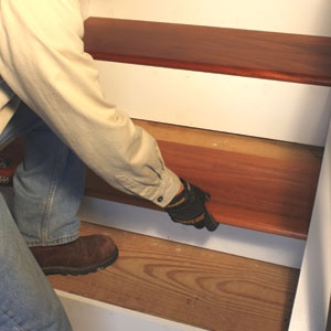 Remodel With Prefinished Stair Treads Extreme How To   Carpeted Stairs With Wood End Caps   Stair Railing   Waterfall   Diy   Capped   Step