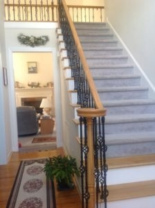 Diy Staircase Transformation In One Afternoon Extreme How To | Wood Handrail With Iron Balusters | Ash Gray | Ole Iron | Upstairs | Wrought Iron | Low Profile