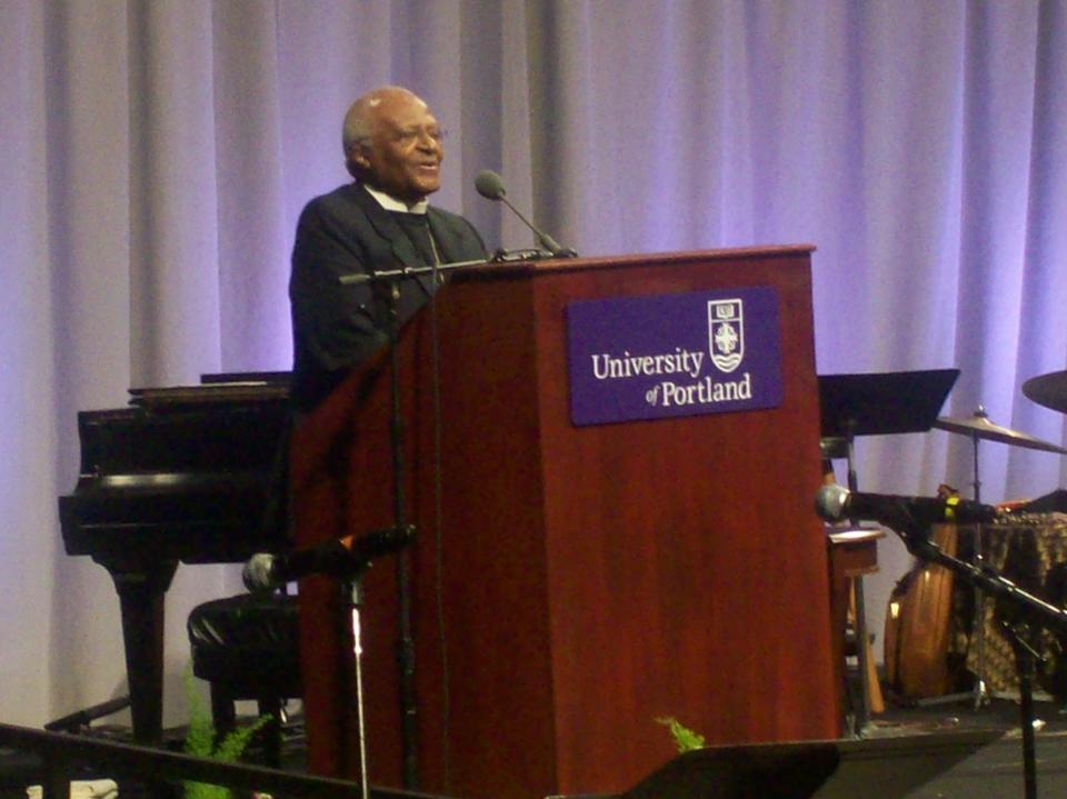 Archbishop Desmond Tutu.  University of Portland, May 4, 2009.