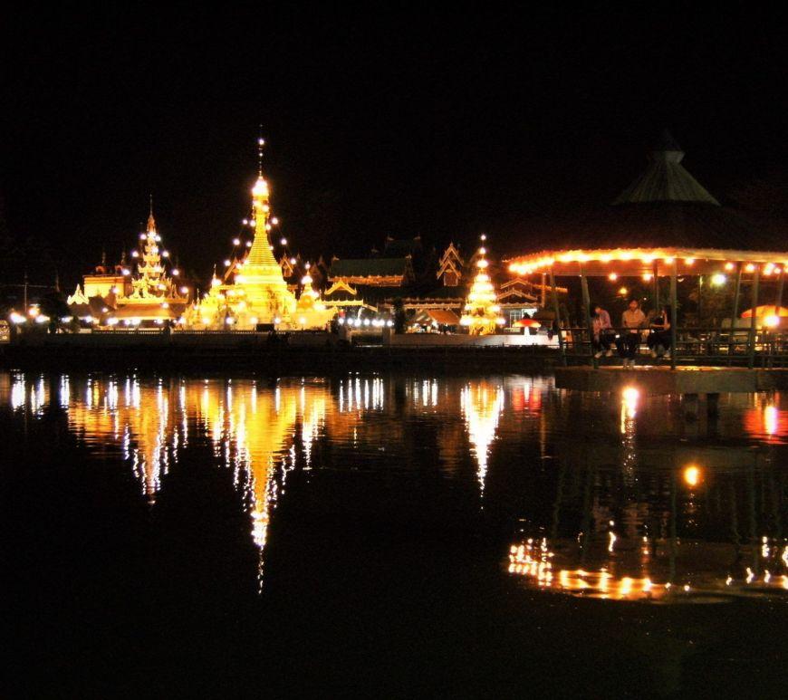Lago y templo, Mae Hong Son, Tailandia