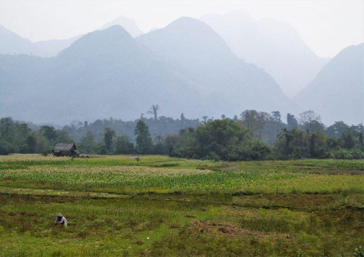 Campos y montañas en Laos