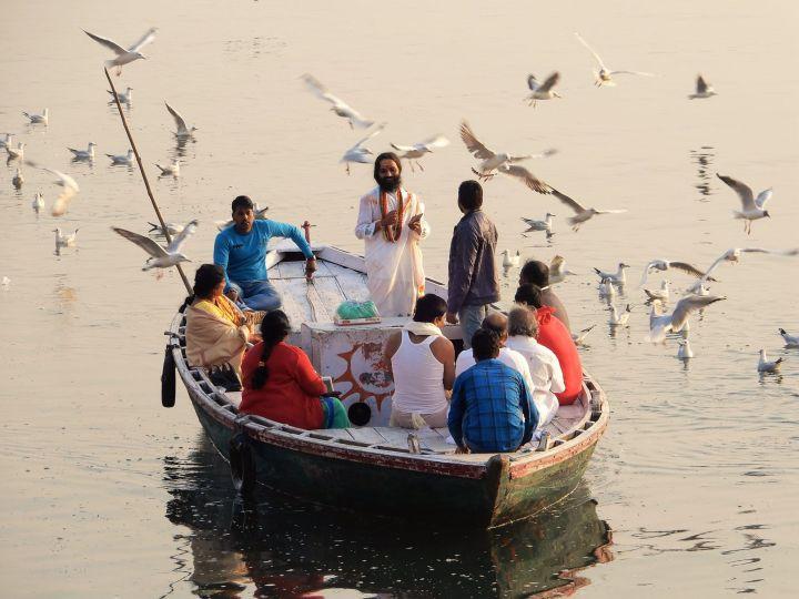 Brahmán, Sacerdote oficiando ceremonia, Benarés, Varanasi, India