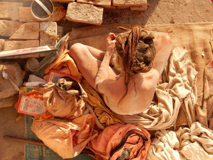 sadhu retrato picado, Benarés Varanasi, India