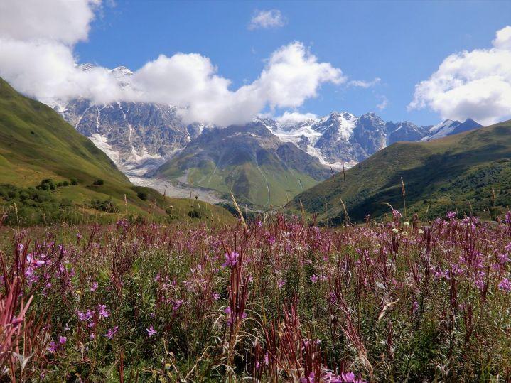 Georgia, Shjara mountain and glacier
